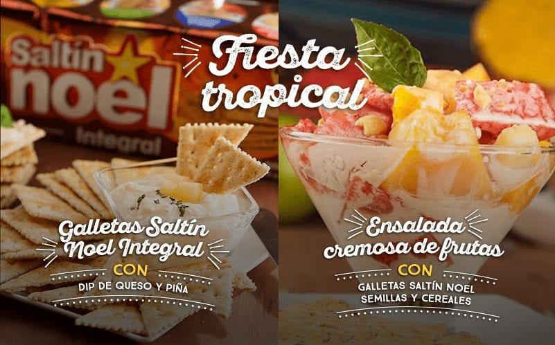 Ensalada cremosa de frutas con Galletas Saltín Noel Semillas y Cereales