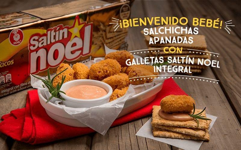 Salchichas apanadas con Galletas Saltín Noel Integral