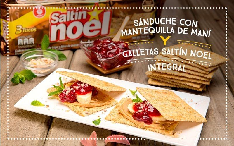 Sánduche con Mantequilla De Maní y Galletas Saltín Noel Integral