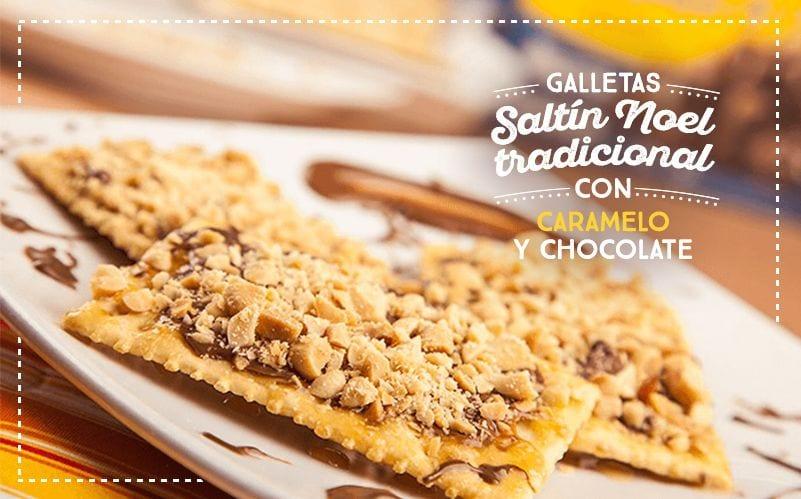 Galletas Saltín Noel Tradicional con caramelo y chocolate.