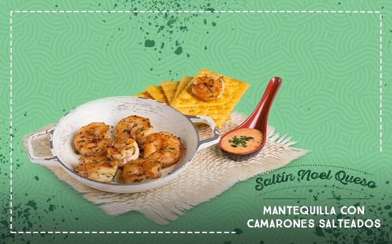Receta: ¿Te atreves a preparar unas Saltín Noel Queso y Mantequilla con Camarones Salteados?